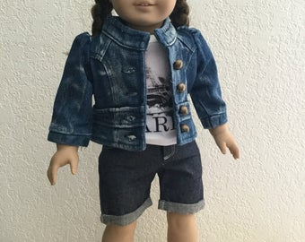 "Fashionable denim jacket for American Girl & most 18"" dolls"