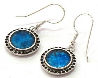 Roman Glass 925 Silver Earrings, Roman Glass Round Earrings, Roman Glass Dangle Earrings, Oxidized Round Silver Earrings