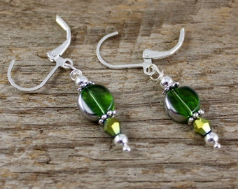 """GREEN & SILVER EARRINGS, 1 1/2""""L, Lever Back Ear Wires, Great Sparkle, Great Teen, Friend or You Gift! Lightweight, Great Go-With Earrings"""