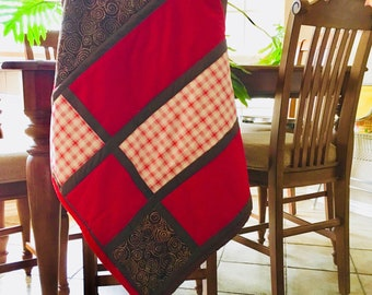 Red and Brown Baby Crib Quilt Blanket