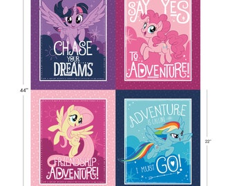 My Little Pony Fabric Panel MLP Fabric Character Frames From Camelot 100% Cotton