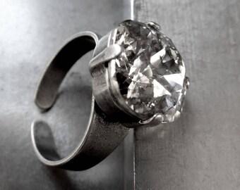Swarovski Silver Patina Crystal Ring, Goth Gothic Jewelry, Metallic Mercury Glass Mirror Crystal Ring, Antique Silver Adjustable Ring 4470