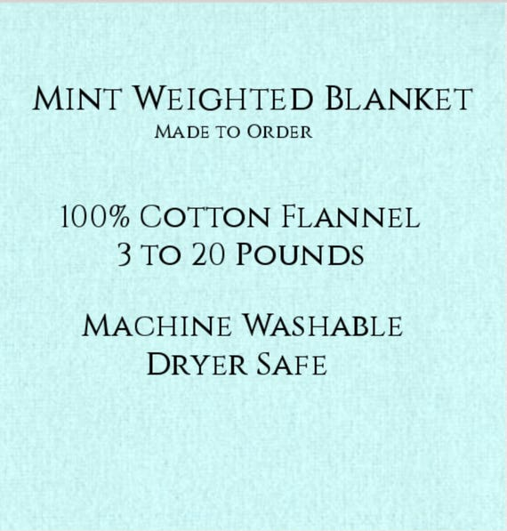 Solid Color, Weighted Blanket, Mint, Up to Twin Size 3 to 20 Pounds.  Calming, Heavy Blanket, SPD, Autism, Weighted Blanket.