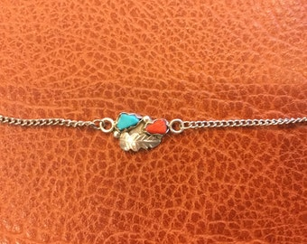 """Vintage Navajo Sterling Silver Turquoise Coral Feather necklace with 18"""" Chain"""