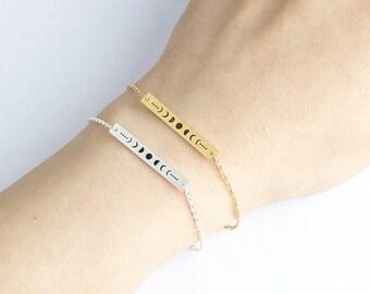 Moon phases Bracelet, Moon Charm Bracelet, Moon Phases bar bracelet, Bar Bracelet, Long Bar Bracelet, Full Moon Bracelet, Crescent Bracelet