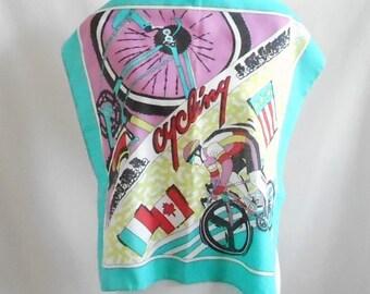 Vintage 1980s 1990s Cycling Bandana, Vintage Cycling Bandana, Vintage Cycling Handkerchief, 1980s Cycling Bandana, 1990s Cycling Bandana