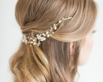 Wedding Hair Vine , Bridal Headpiece, Bridal Pearl Hair Swag, Gold Crystal Hair Vine, Silver Crystal Hair Vine, Wedding Hairpiece
