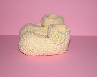 Hand Knitted Baby Cotton  Booties  (Butter Cream  Mary Jane)