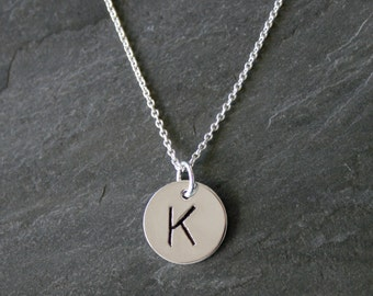 "Monogram Jewelry, Single Letter Charm, Sterling Silver Necklace, Custom Letter Charm, Personalized, Mothers Necklace hand stamped, 18"" chain"