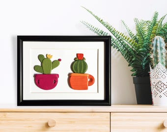 Cactus frame, Cactus home decor, Cacti wall hanging, Cactus gift, Succulent lover gift, Cactus wall art, Colorful decor, Cactus lover gift