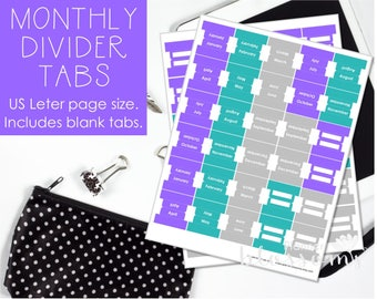 "Monthly Divider tabs, printable. Blank divider tabs included. US Letter (8.5""x11"") Size. Instant download. PDF files. Purple, teal and gray."