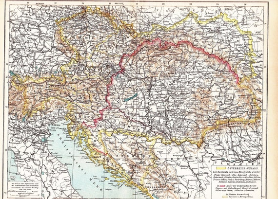 1904 Political Map of the AustroHungarian Monarchy and the