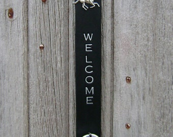 Handmade Silver Sleigh Bell Door Hanger - Welcome