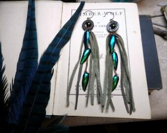 The Khepra Long Leather Boho Earrings. Moss Green Leather fringe Tassels,and Elytra Beetle wing rustic earrings