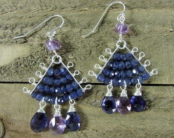 Iolite Gemstone & Amethyst Chandelier Earrings