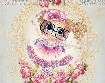 INSTANT DOWNLOAD Digital Digi Stamps Big Eye Big Head Dolls Bestie New Bestie Card Topper Dancer printable  My Besties By Sherri Baldy