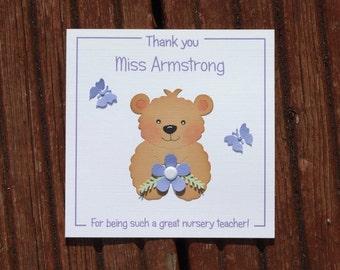 Personalised card, handmade card, thank you teacher, nursery teacher card, teaching assistant card, greeting card, thank you card,