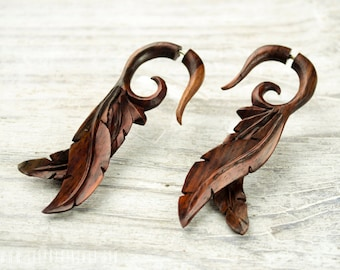 Fake Gauge Earrings Leaves Wooden Tribal Earrings - Gauges Plugs Bone Horn - FG087 W