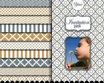 Gold dot digital paper gray stripe clip art frame silver clipart frame gold background polka dot : p0207 3s414348C IP