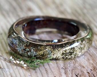 Birch Bark Bracelet, Clear Resin Bangle with Birch Bark, Woodland Jewelry, Forest Jewellery