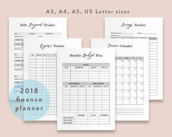 Finance Planner Printable Budget Planning Files Finance Journal Expense Tracker Financial Planner Savings Debt Tracking Budgeting Worksheets