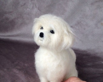 Needle felted dog - Felted Shih tzu - Felted dog - needle felted Shih tzu - Needle felted Maltese - needle felted animal - gift for her