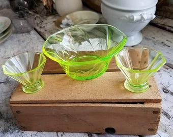 Vintage Vaseline Glass / Antique Vaseline Glass / Vintage Cordial / Vintage Glass / Vintage Dishes / Vintage Dining / Vintage Home /
