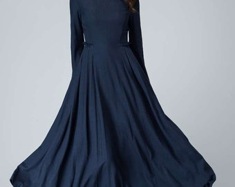dark blue dress, linen dress, fall dress, prom dress, party dress, pleated dress, elegant dress, ruffle dress, long sleeves dress 1465