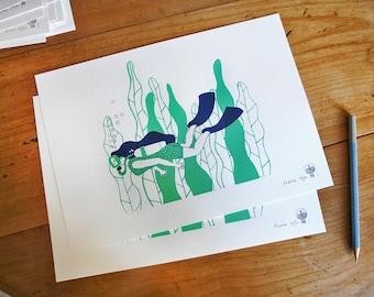 Poster SCUBA DIVER   Print / Art Print / Wall Art / Silkscreen Print / A4 size   MERMADE