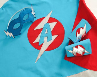 Kid's Superhero Outfit, Cape, Mask & Cuff Set, LIGHTNING BOLT DESIGN Superhero Children Costume with specially designed initial in the logo