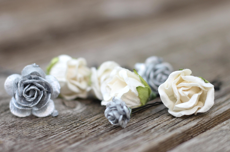 Silver flower hair pins silver bobby pins headpiece boho zoom izmirmasajfo