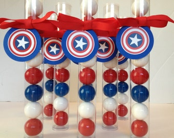 Patriotic Party, American Superhero Party, Fourth of July Party,  Gumball Tube Party Favors, Set of 12, with tags & Ribbon