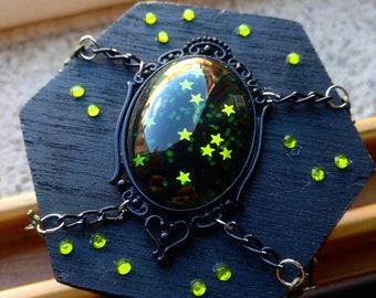 Green Stars Galaxy Gothic Mini Box Chest