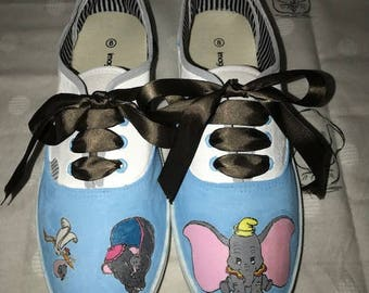 Kids Dis inspired Dumbo hand painted canvas shoes. Kids