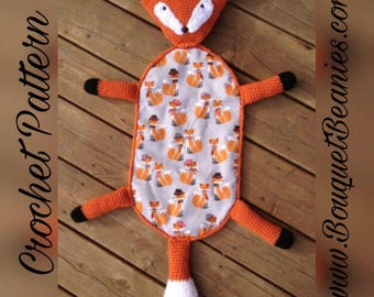 PDF Crochet Pattern- Friendly Fox Blanket Buddy - Flannel/Crochet - Easy and Fun to make - Beginners to Intermediate