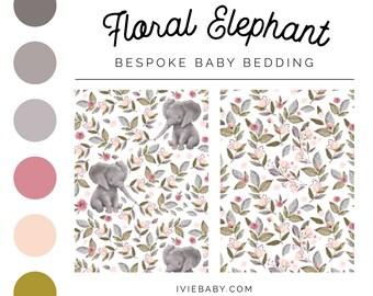 Floral Elephant Bedding. Baby Bedding. Adventure Baby Bedding. Elephant Baby Bedding. Crib Sheet. Crib Skirt. Nursing Pillow Cover.