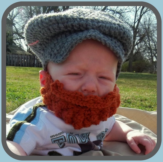 Baby Newsboy Cap, Baby Beard Hat, Irish Baby Hat, St. Patrick's Day Baby Outfit, Irish Beard, Baby Bowler Hat, Old Man Hat, Irish Baby Gift