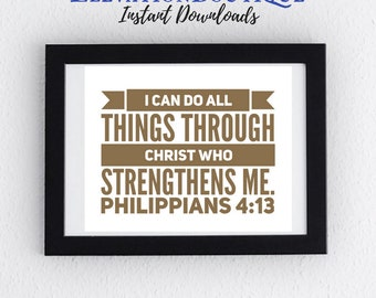 Instant Download CHARITY Printable Art Philippians 4:13 I Can Do All Things Through Christ Who Strengthens Me Horizontal Brown Print Bible