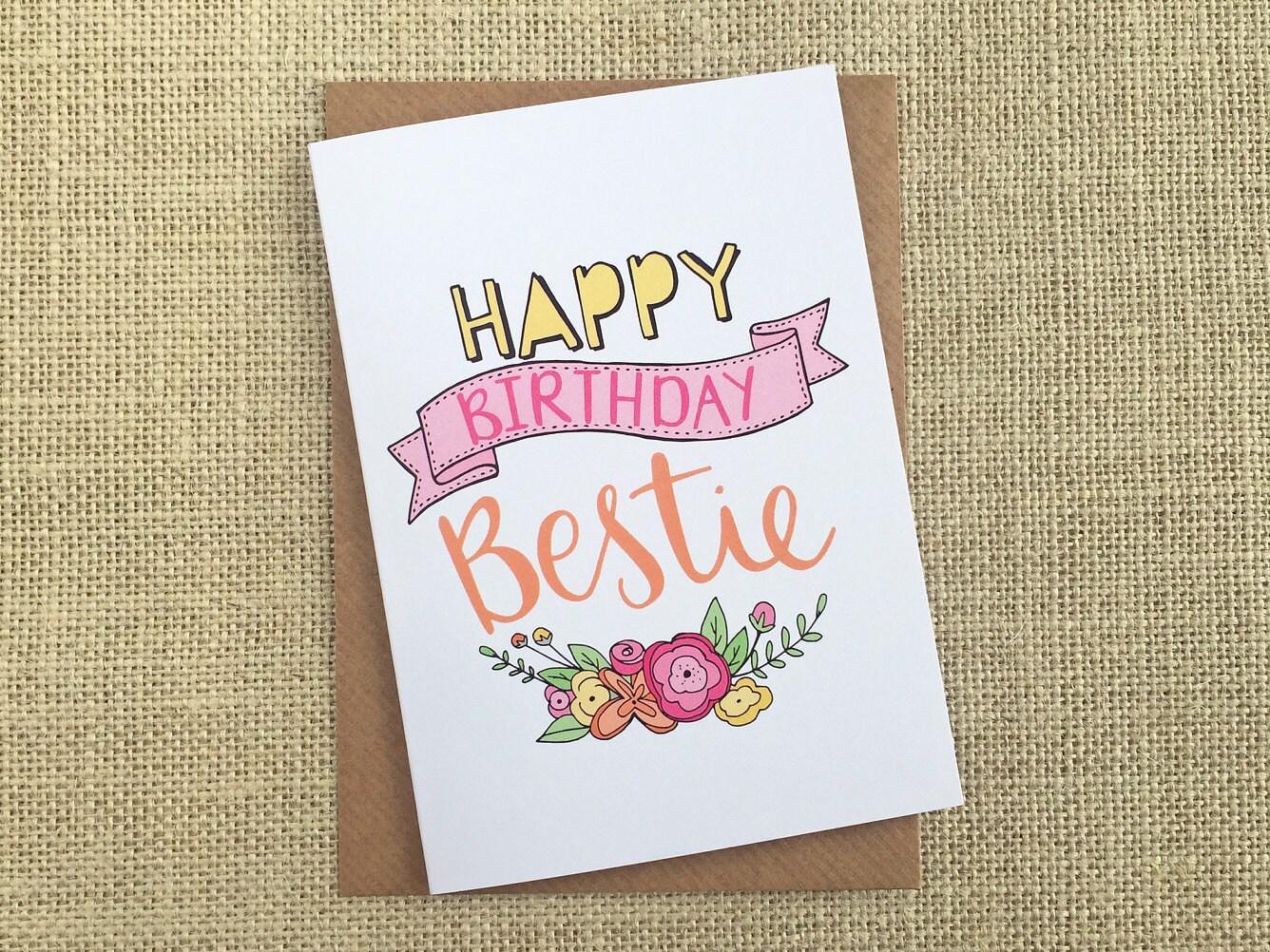 Happy Birthday Bestie Birthday Card Hand Lettering Best