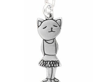 Sterling Ballet Necklace - Silver Ballerina Cat Pendant