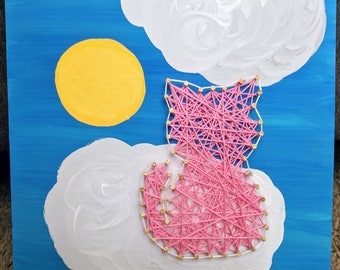 Kitty on a Cloud- String Art and Painting