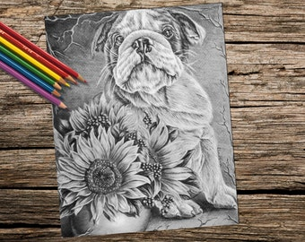 Coloring Pages To Print Of Dogs : Adult coloring page fox grayscale coloring pages instant