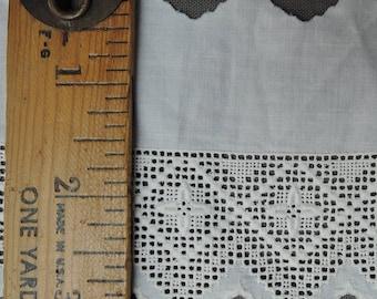 Vintage Victorian Embroidered Cotton Trim, 1-1/2 Yards Antique 1800s Vintage  Cotton Lace, L6