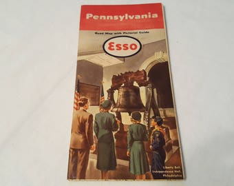 US Road Map Esso Standard Oil Pennsylvania Excellent Condition