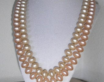 Vintage Blush pink double strand pearl necklace