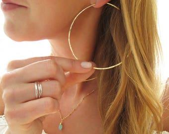 Three Inch Hoop Earrings - Extra Large Gold Hoop Earrings - Hammered Sterling Silver, Gold, Rose Hoops - 3 inch Big Hoops - Shiny Thin Hoops