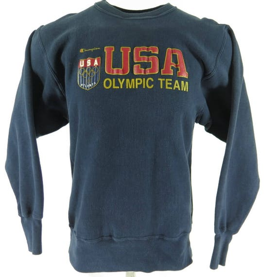 L Sweatshirt Olympic Shelf Champion USA 90s Vintage H17R Reverse 1 9 Atlanta Weave 1996 Team q0SnY4