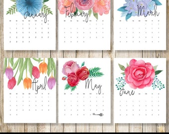 Desk Calendar 2018 | Watercolor Floral Calendar Printable | 2018 Wall Calendar | 12 Month Calendar 2018 | Botanical Calendar | Boho Calendar