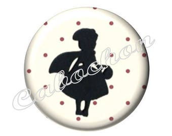 4 cabochons 16mm glass, fairy tale, Red Riding Hood