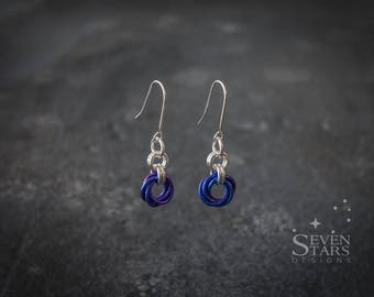 Niobium and Sterling Silver Mobius Rosette Earrings